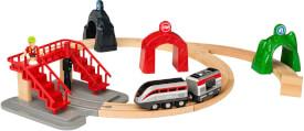 BRIO World 33873 Großes Smart Tech Reisezug Set Elektrischer Zug mit Schienen, Tunnel & Fußgängerbrücke Interaktives Spielzeug