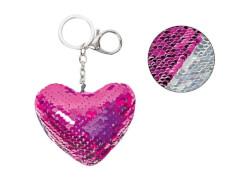 Schlüsselanhänger Herz mit Pailletten